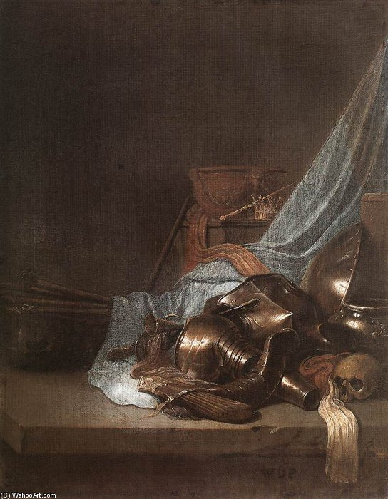 Still-life With Weapons And Banners by Willem De Poorter (1608-1668, Netherlands) | Painting Copy | WahooArt.com