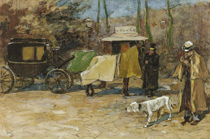 Wilhelmus Hendrikus Petrus Johannes Zwart - Waiting Carriage In A Park