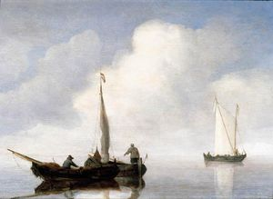 Willem Van De Velde The Elder - Small Craft In A Calm Off The Dutch Coast