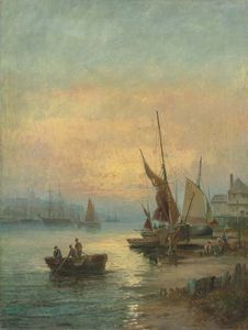 William A. Thornley (Thornbery) - Fishing Boats Off Scarborough; And A Fishing Village