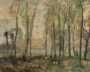 William Alfred Gibson - Landscape With Peasant Woman And Goats