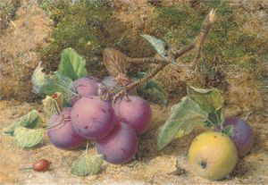 William Hough - Still Life Of Plums And An Apple On A Mossy Bank
