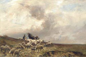 William Bradley Lamond - A Shepherd And His Sheep In A Moorland Landscape