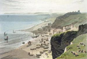 Thomas And William Daniell - Hastings, From The East Cliff, From 'a Voyage Around Great Britain Undertaken