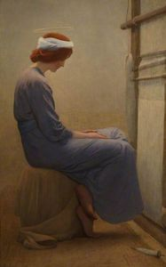 William Henry Margetson - Mary At The Loom