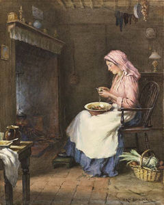 William Kay Blacklock - A Woman Peeling Vegetables