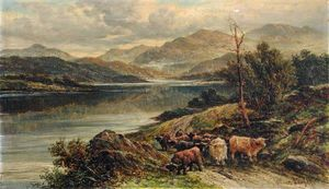 William Langley - Loch With Highland Cattle