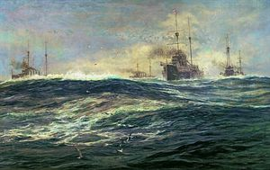 William Lionel Wyllie - 1st Battle Squadron Of Dreadnoughts Steaming Down The Channel