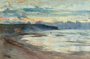 William Lionel Wyllie - A Coastal Scene At Sunset