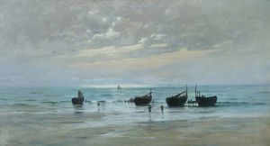 William Lionel Wyllie - French Fishing Boats At Low Tide