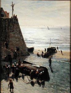 Order Reproductions | Hauling Up The Fishing Boat by William Lionel Wyllie (1851-1931, United Kingdom) | WahooArt.com