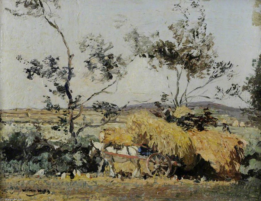 Haymaking by William Page Atkinson Wells (1871-1923, United Kingdom)