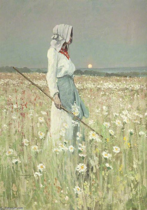 Landscape – Girl in a Meadow by William Page Atkinson Wells (1871-1923, United Kingdom) | Painting Copy | WahooArt.com