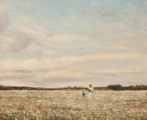William Page Atkinson Wells - Margeurites In The Meadow