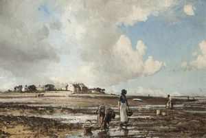 William Page Atkinson Wells - The Mussel Gatherers At Sunderland Point, Lancashire
