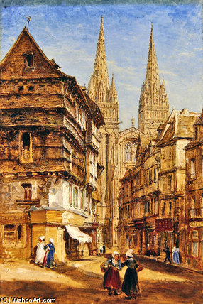 St Corentin Of Quimper Cathedral by William Parrott (1813-1869, United States)