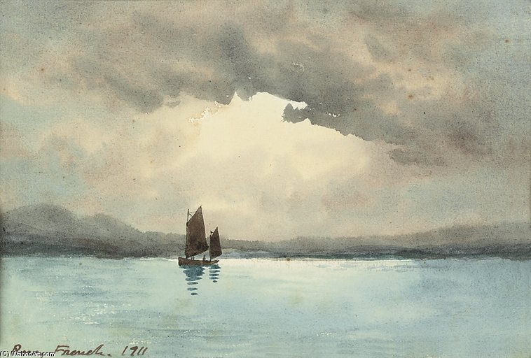 A Sailing Boat On A Lake by William Percy French (1854-1920, Ireland) | WahooArt.com