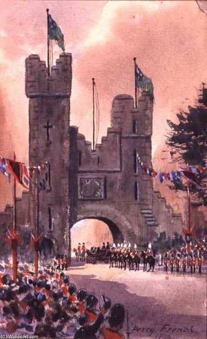 Queen Victoria Parades Around Dublin by William Percy French (1854-1920, Ireland)