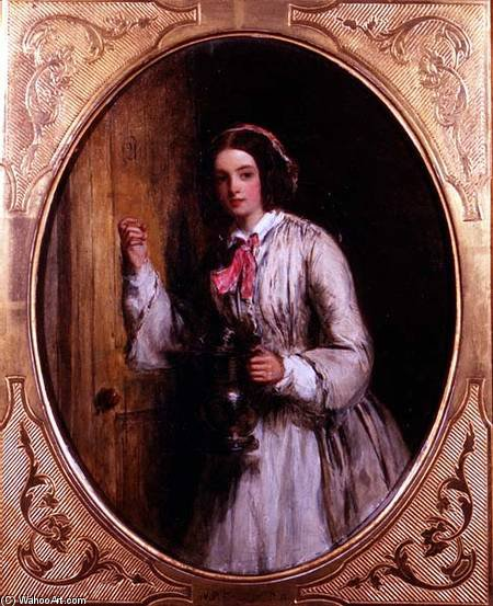 A Maid With A Flagon - by William Powell Frith (1819-1909, United Kingdom) | Art Reproductions William Powell Frith | WahooArt.com