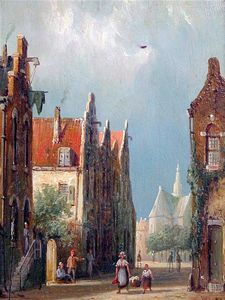 Order Paintings Reproductions | Dutch Canal And Street Scenes, by William Raymond Dommersen (1859-1927, United Kingdom) | WahooArt.com