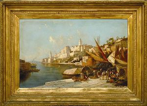 Buy Museum Art Reproductions | European Port Scene by William Raymond Dommersen (1859-1927, United Kingdom) | WahooArt.com