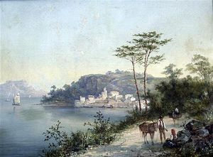 William Raymond Dommersen - Italian Lake Scene