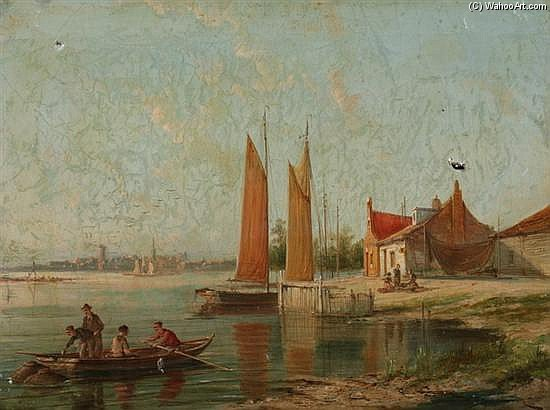 On The Amstel, Amsterdam by William Raymond Dommersen (1859-1927, United Kingdom) | Painting Copy | WahooArt.com