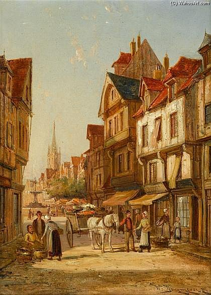Rue De Bac, Roven_2 by William Raymond Dommersen (1859-1927, United Kingdom) | Museum Art Reproductions William Raymond Dommersen | WahooArt.com