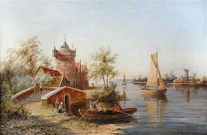 William Raymond Dommersen - The Toll House, Enkhuizen, Holland Signed Lower Right