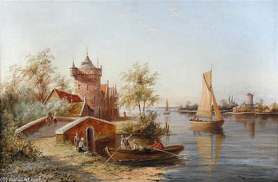 The Toll House, Enkhuizen, Holland Signed Lower Right by William Raymond Dommersen (1859-1927, United Kingdom) | Museum Quality Reproductions | WahooArt.com