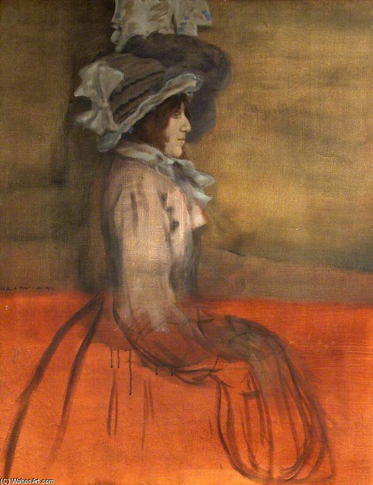 Portrait Of An Unknown Lady In A Hat by William Rothenstein (1872-1945, United Kingdom)