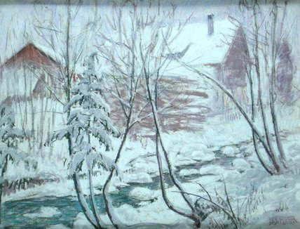 Chalets In The Snow by William Samuel Horton (1865-1936, United States) | Art Reproduction | WahooArt.com