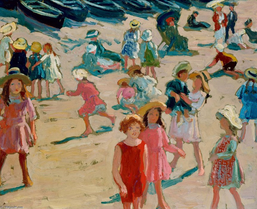 Children On An English Beach by William Samuel Horton (1865-1936, United States) | WahooArt.com