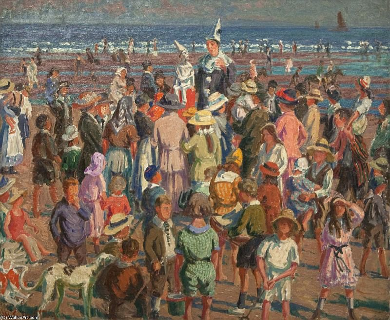 Punch On The Beach At Broadstairs by William Samuel Horton (1865-1936, United States)