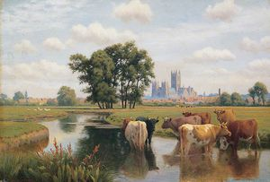 William Sidney Cooper - Canterbury Cathedral From The Stour Meadows, Kent