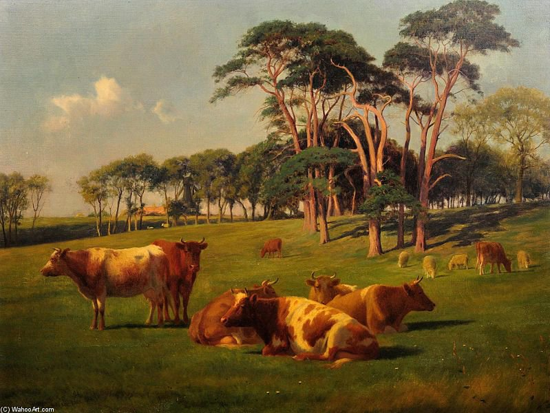 Cattle & Sheep In Pasture by William Sidney Cooper (1854-1927) | WahooArt.com
