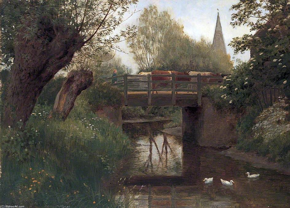 Cattle On A Bridge by William Sidney Cooper (1854-1927)