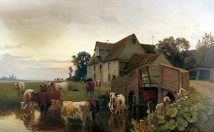 William Sidney Cooper - Cattle Watering On The River Stour