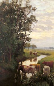 Buy Museum Art Reproductions | Evening At Sturry by William Sidney Cooper (1854-1927) | WahooArt.com