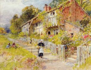 William Stephen Coleman - Cottages - A Row Of Cottages With A Figure