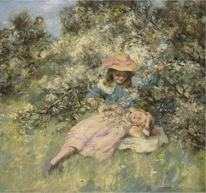 William Stewart Macgeorge - Children Amongst Spring Blossom