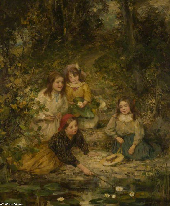 Four Children By A Lily Pond by William Stewart Macgeorge (1861-1931, Canada) | Oil Painting | WahooArt.com