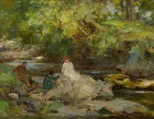 William Stewart Macgeorge - Three Figures By A River