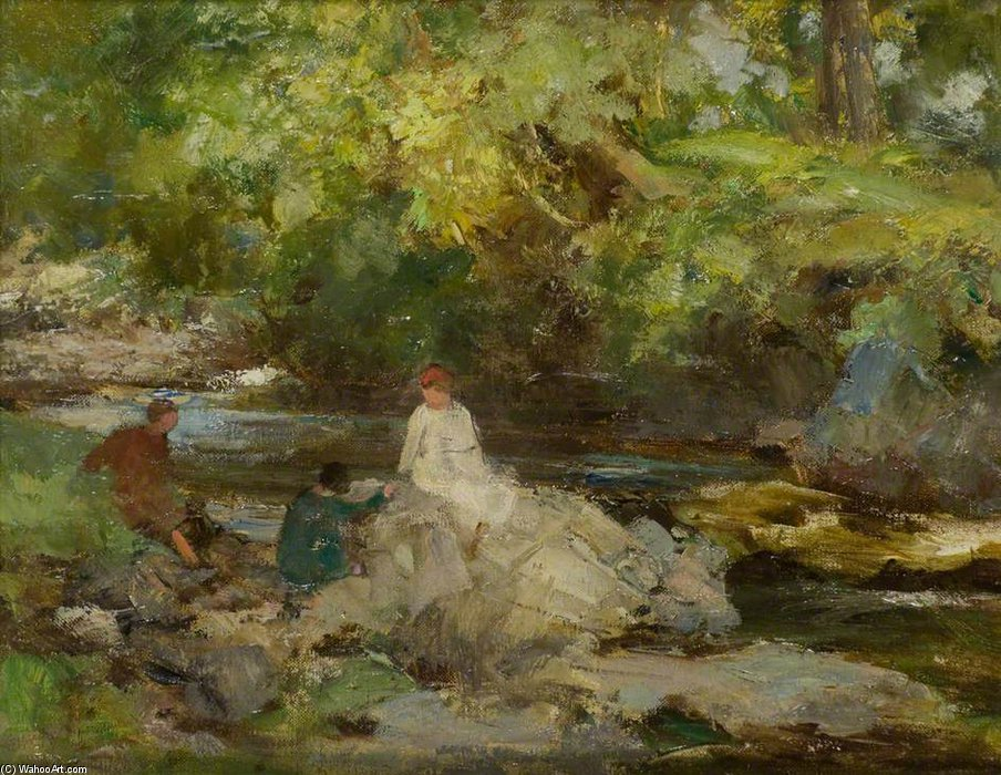 Three Figures By A River by William Stewart Macgeorge (1861-1931, Canada) | Museum Art Reproductions William Stewart Macgeorge | WahooArt.com