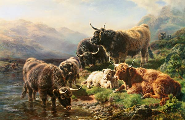 Highland Cattle by William Watson (1881-1968, United Kingdom) | Museum Quality Reproductions | WahooArt.com