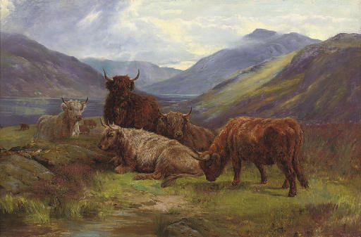 Highland Cattle Resting Before A Loch by William Watson (1881-1968, United Kingdom) | Art Reproduction | WahooArt.com