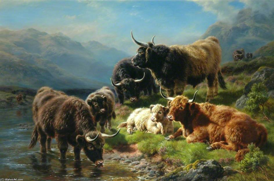Highland Cattle by William Watson (1881-1968, United Kingdom) | Painting Copy | WahooArt.com