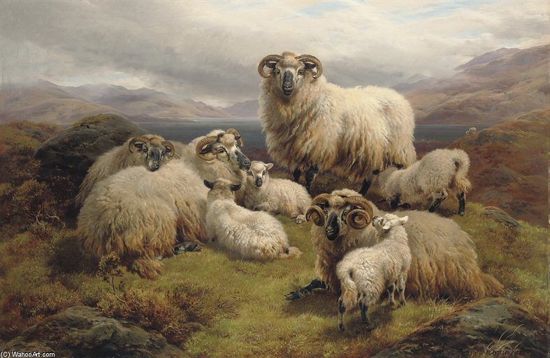 Sheep Grazing By A Loch by William Watson (1881-1968, United Kingdom) | Painting Copy | WahooArt.com