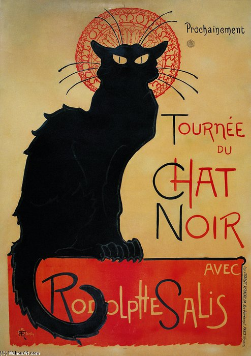 Tournee Du Chat Noir by Theophile Alexandre Steinlen (1859-1923, Switzerland) | Famous Paintings Reproductions | WahooArt.com