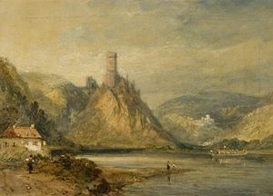 James Baker Pyne - Lake Scene With Castle